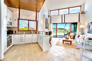 Living room, Kitchen and garden view