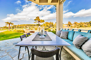 Outdoor dining area and garden view